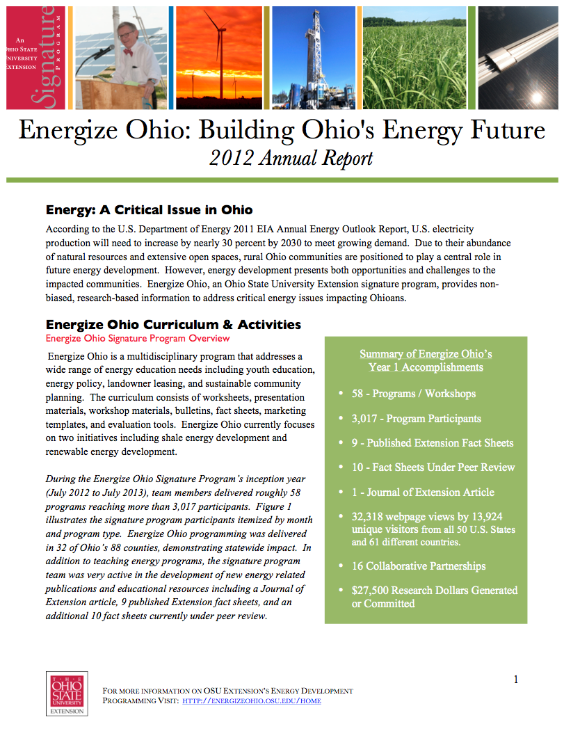 Energize Ohio Signature Program Newsletters Energize Ohio