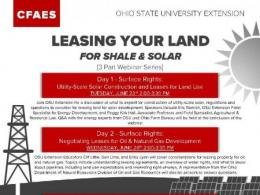2020 LEASING YOUR LAND FOR SHALE AND SOLAR WEBINARS